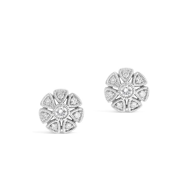 Diamond Cluster Stud Earrings
