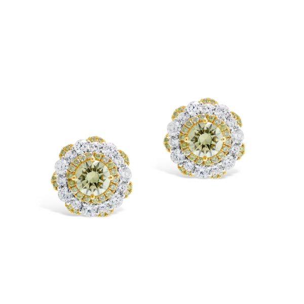Fancy Yellow Diamond Cluster Stud Earrings