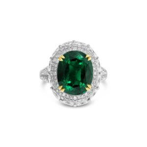 Oval Emerald and Diamond Dress Ring