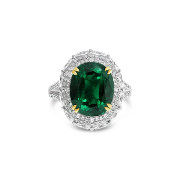 Oval Emerald and Diamond Dress Ring