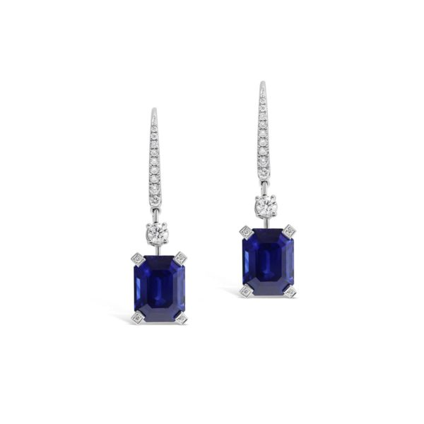 Emerald Cut Sapphire Drop Earrings