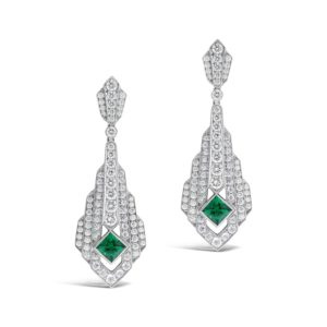 Art Deco Diamond and Emerald Drop Earrings