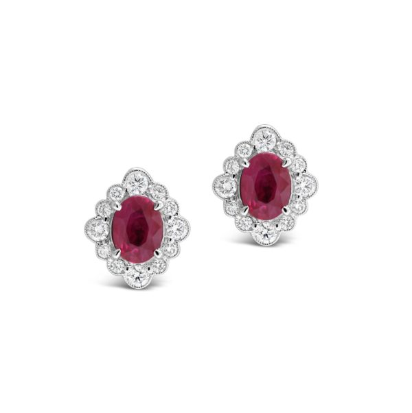 Ruby and Diamond Earstuds