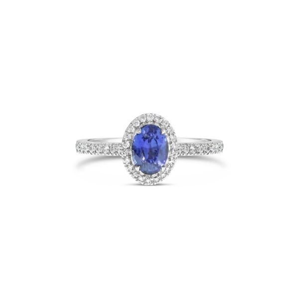 Sapphire and Diamod Halo Enagement Ring