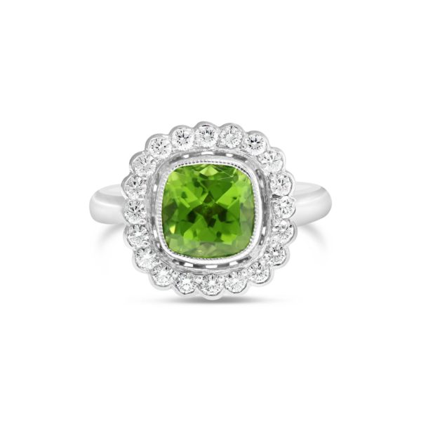 Peridot and Diamond Halo Dress Ring