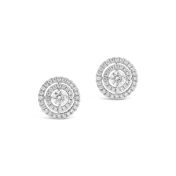 Double Halo Diamond Ear Studs