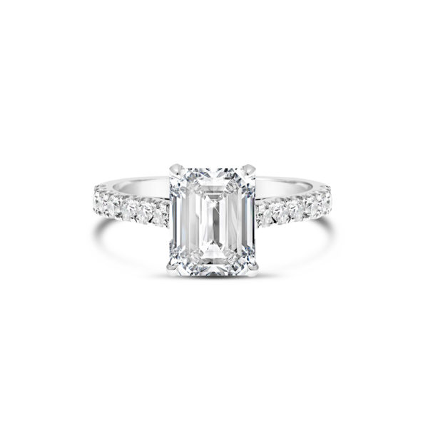 Emerald cut engagement ring G2307