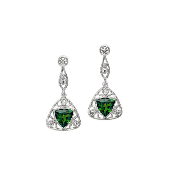 Tsavorite and Diamond Drop Earrings