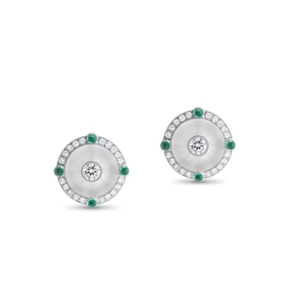 Emerald and Carved Rock Crystal Stud Earrings