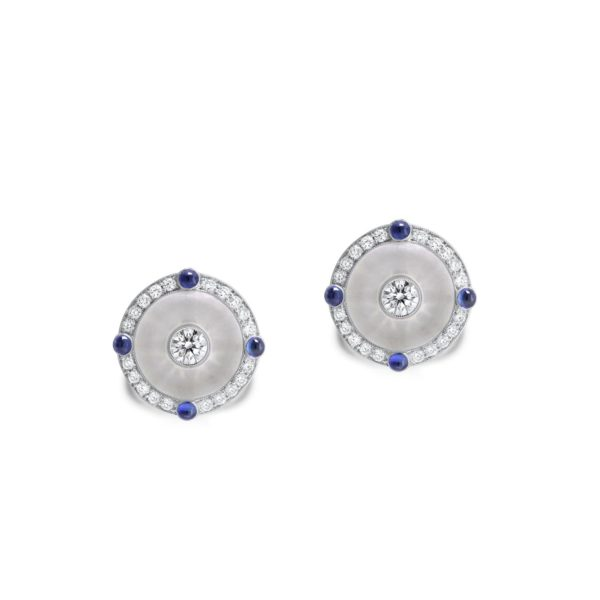 Sapphire and Carved Rock Crystal Stud Earrings