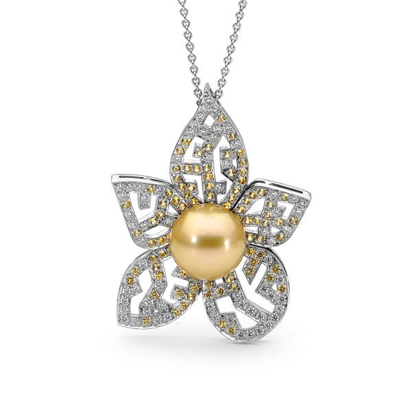 964966 ORCHID PEARL AND DIAMOND PENDANT FAIRFAX & ROBERTS Sydney