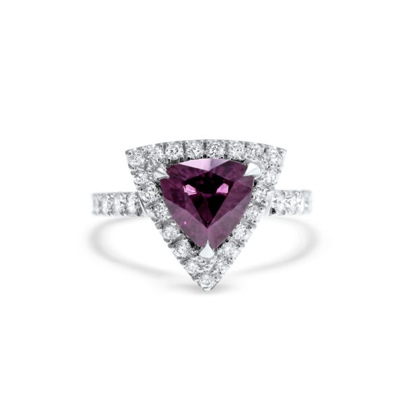 Trilliant Cut Purple Spinel Ring