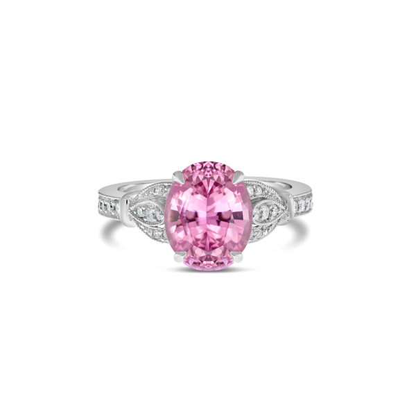 Vintage oval cut pink sapphire engagement ring