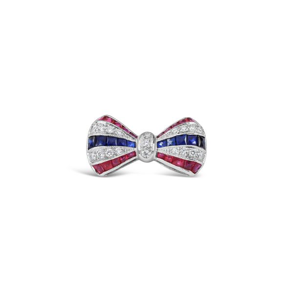 Ruby, Sapphire and Diamond Bow Brooch