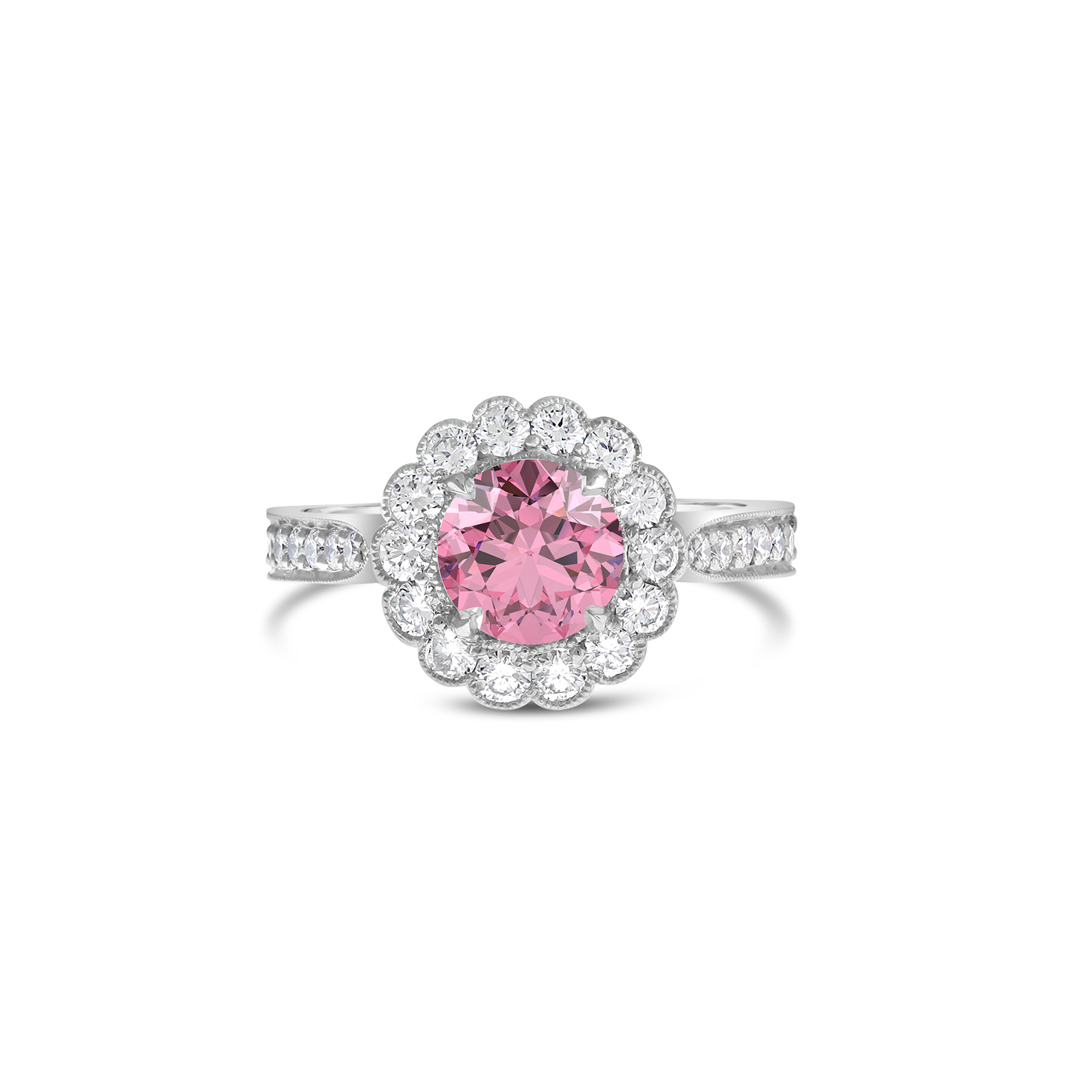 88a86310e2 Pink Sapphire Scalloped Halo Engagement Ring - Fairfax & Roberts