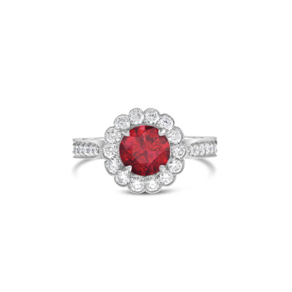 Gemstone Engagement Ring - Flower Halo Ruby