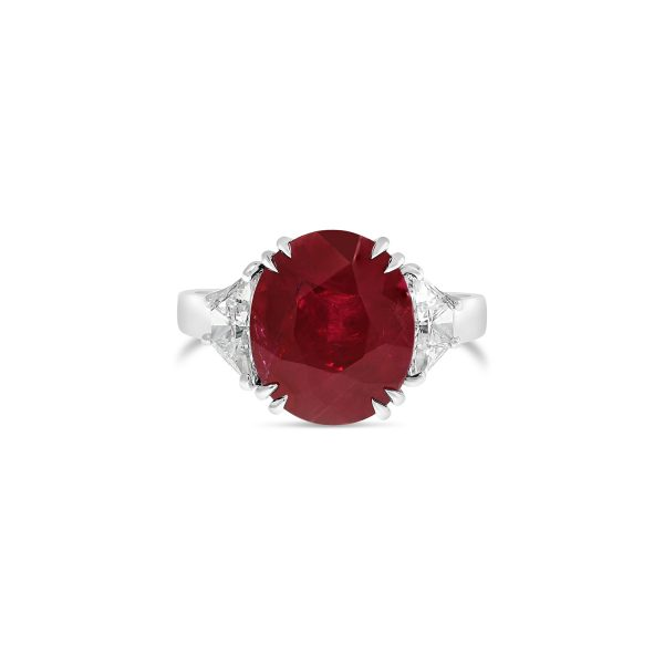 Burmese Ruby Three Stone Ring