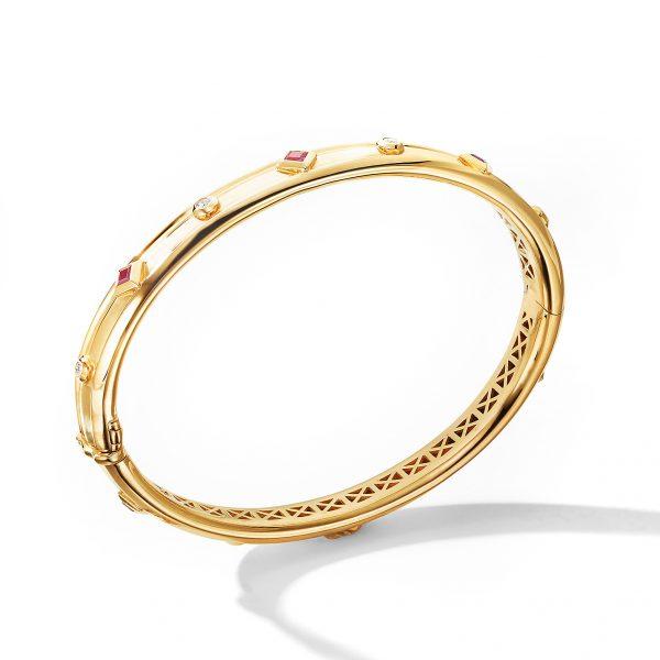 David Yurman Australia_B14652D88ARUDI Modern Renaissance Bracelet in 18K Yellow Gold with Rubies and Diamonds