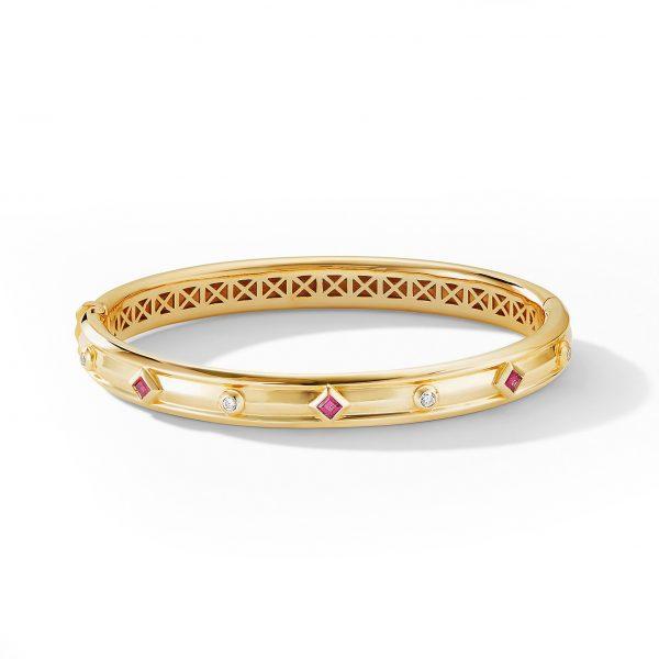 David Yurman Australia_B14652D88ARUDI_ALT1 Modern Renaissance Bracelet in 18K Yellow Gold with Rubies and Diamonds
