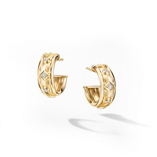 David Yurman Australia_E14770D88ADI Stax Full Pavé Drop Earrings in 18K Yellow Gold