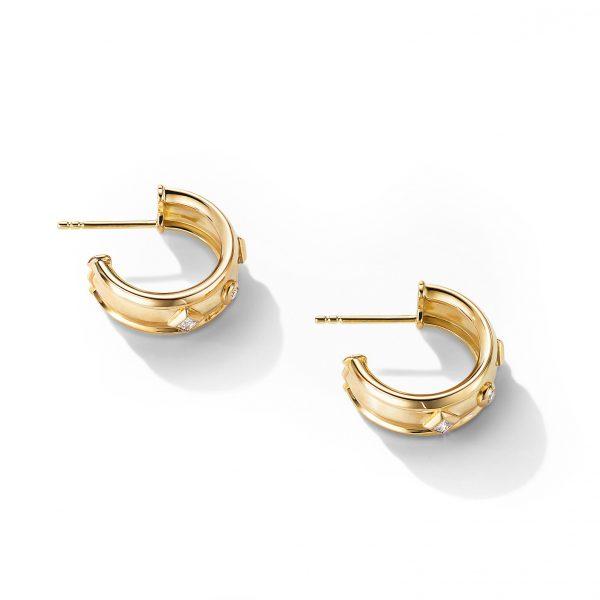 David Yurman Australia_E14770D88ADI_ALT1 Stax Full Pavé Drop Earrings in 18K Yellow Gold