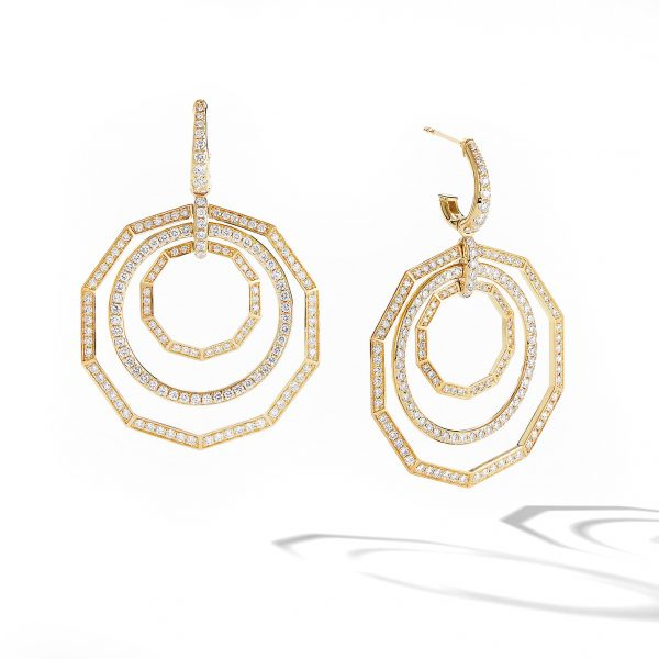 David Yurman Australia_E14815D88ADI Stax Full Pavé Drop Earrings in 18K Yellow Gold