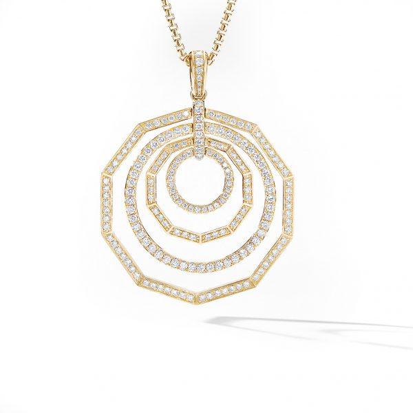 David Yurman Australia_N14818D88ADI Stax Full Pavé Pendant Necklace in 18K Yellow Gold