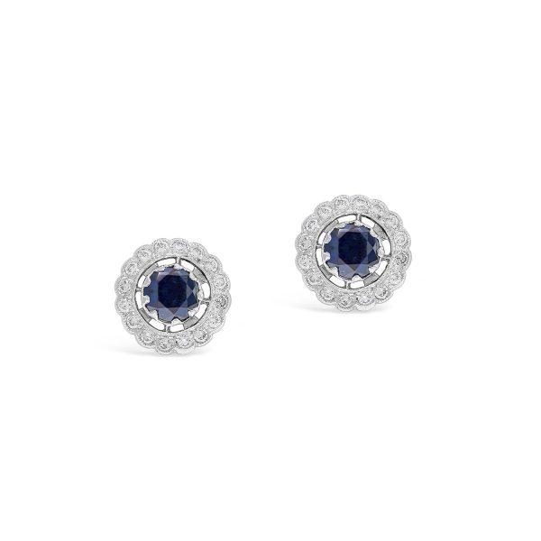 Halo sapphire diamond stud