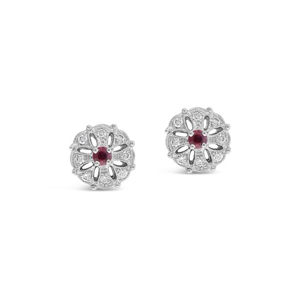 Ruby and Diamond Stud Earrings