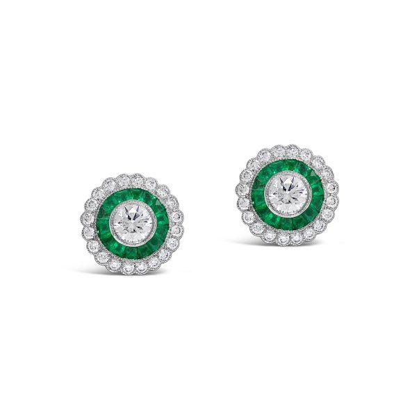 Halo Emerald and Diamond Stud Earrings