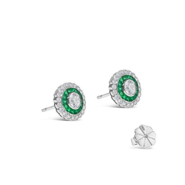 Halo Emerald and Diamond Stud Earring