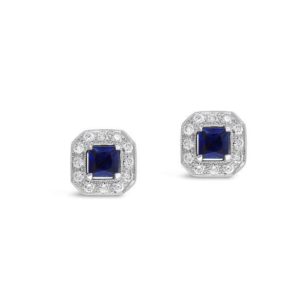Princess Cut Sapphire Stud Earrings