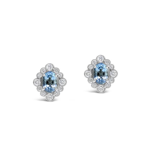 Oval Cut Aquamarine Stud Earrings