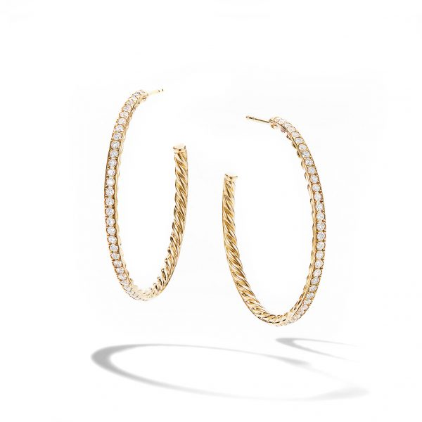 David Yurman Diamond Medium Hoop Earrings
