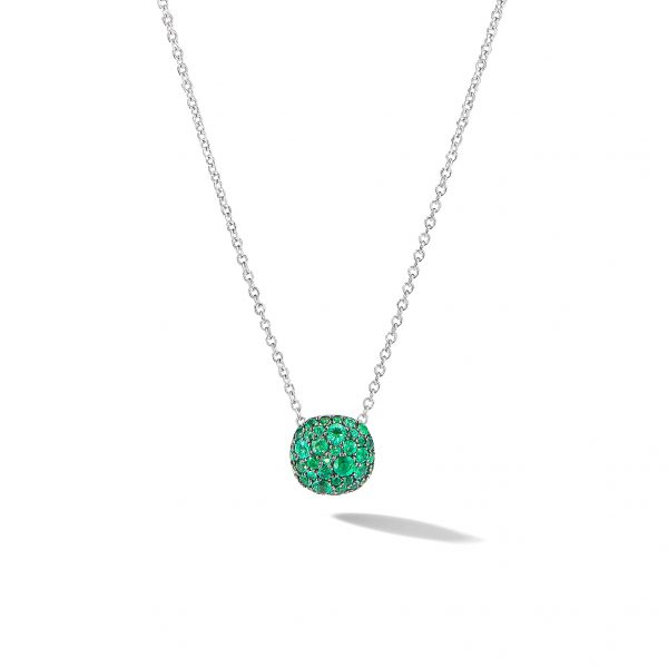 David Yurman Emerald Cushion Stud Pendant Necklace