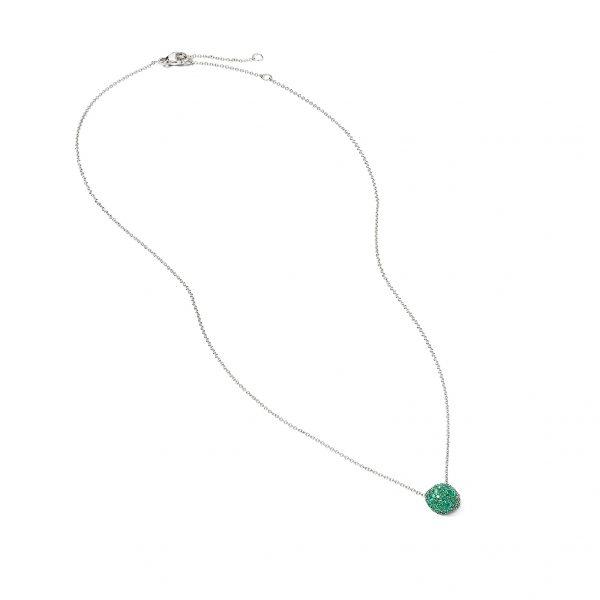 David Yurman Emerald Cushion Stud Pendant Necklace