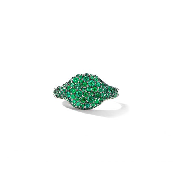 David Yurman Mini Chevron Emerald Ring