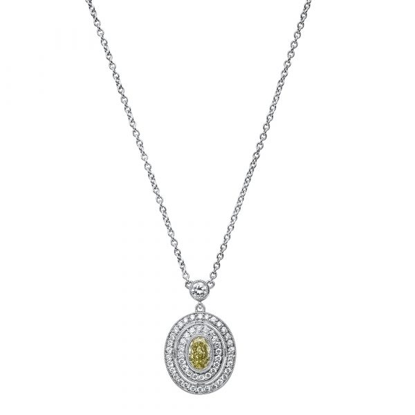 Oval Yellow Diamond Pendant