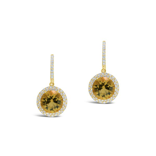 Citrine and Diamond Halo Drop Earrings