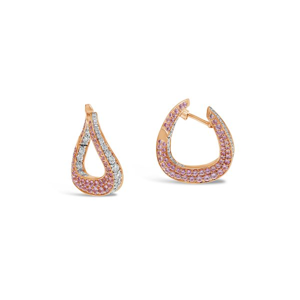Pink Sapphire and Diamond Twist Earrings