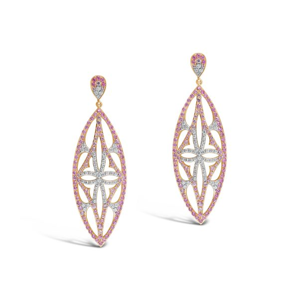 Pink Sapphire and Diamond Pendant Drop Earrings