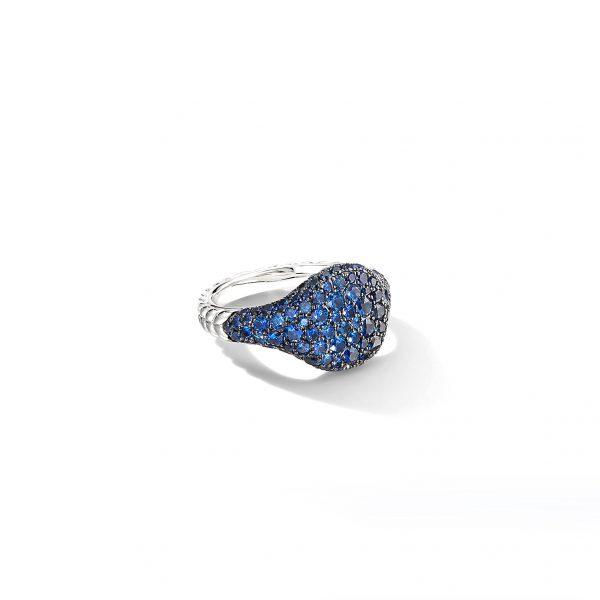 David Yurman Sapphire Mini Chevron Pinky Ring