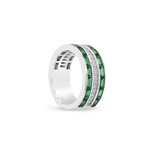 Tsavorite and Diamond Channel Set Ring