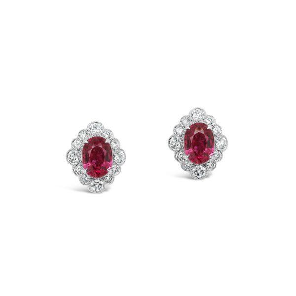 Oval Ruby and Diamond Stud Earrings