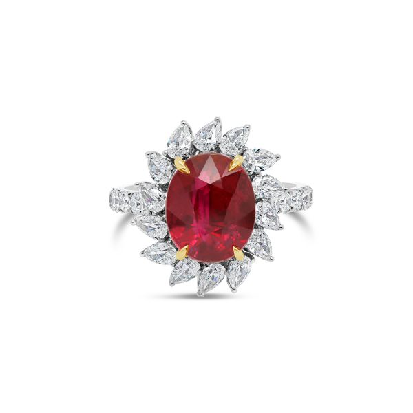 Mozambique Oval Ruby and Diamond Ring