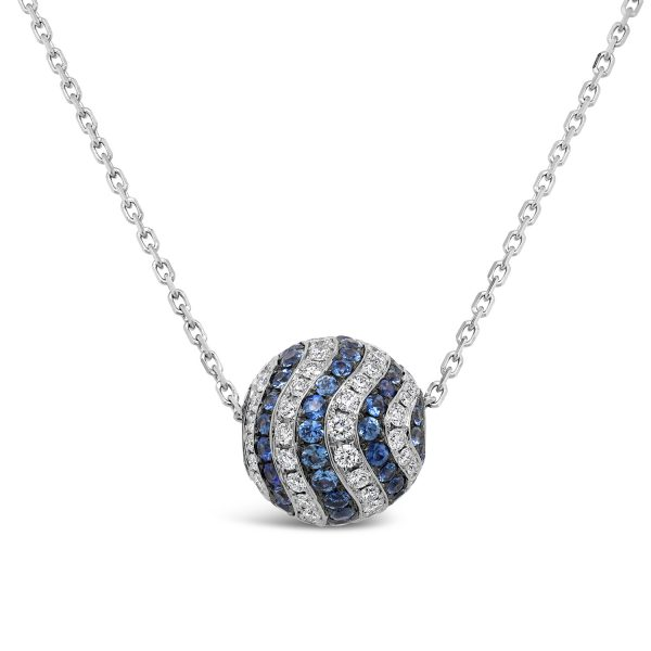 Sapphire and Diamond Bead Necklace