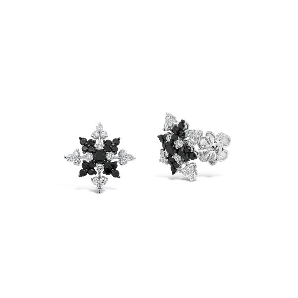 Black and White Diamond Snowflake Earrings