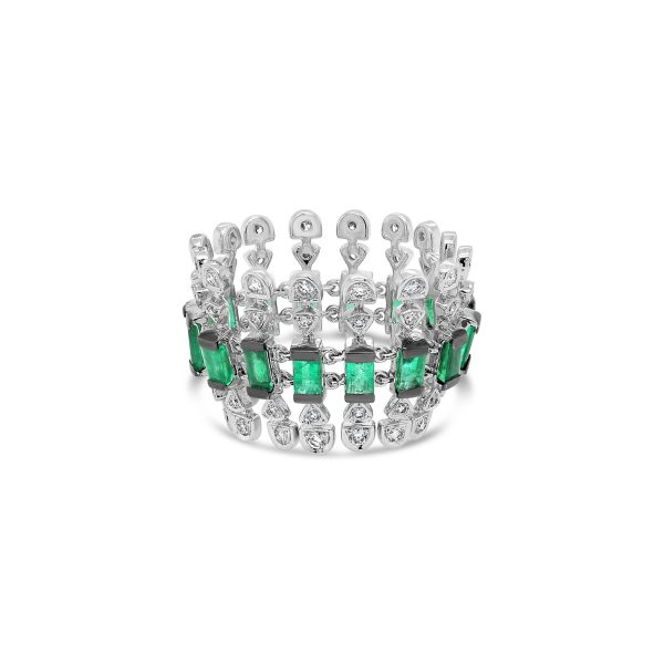 Emerald and Diamond Motif Ring