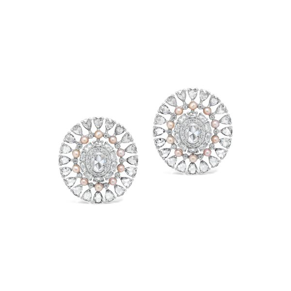 Multi diamond and pearl stud earrings