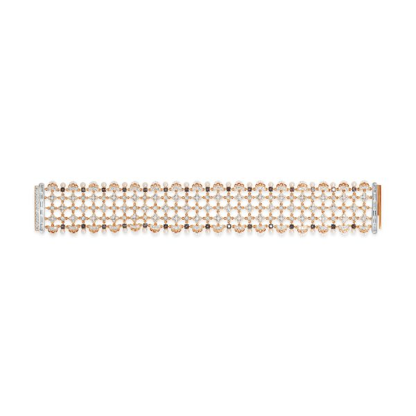 Japanese Keshi Seed Pearl and Diamond Bracelet